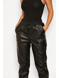 ax-paris-faux-leather-joggers-black