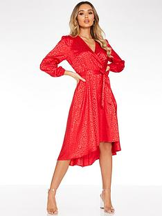quiz-leopard-jaquard-wrap-front-balloon-sleeve-dip-hem-dress-red