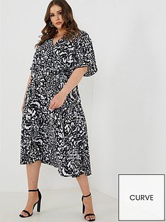 quiz-curve-black-and-cream-leopard-print-wrap-dress-black