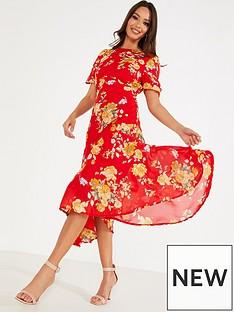 quiz-chiffon-floral-midi-ruched-slit-dress-redyellow
