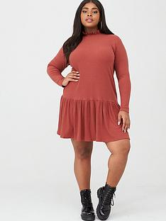 boohoo-plus-boohoo-plus-jersey-ribbed-high-neck-smock-dress-rust