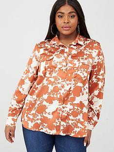 boohoo-plus-boohoo-plus-floral-satin-utility-shirt-rust