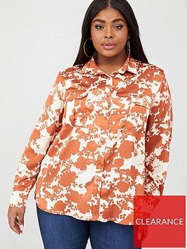 boohoo-plus-boohoo-plus-floral-satin-utility-shirt-rust