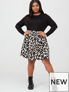 boohoo-plus-boohoo-plus-2-in-1-jersey-leopard-skater-dress