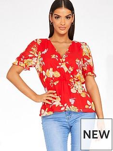 quiz-chiffon-floral-wrap-peplum-frill-sleeve-top-red