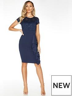 quiz-quiz-navy-lace-sweetheart-neck-cap-sleeve-midi-dress-with-scuba-crepe-skirt
