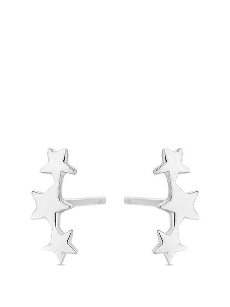 simply-silver-simply-silver-polished-three-star-climber-earrings