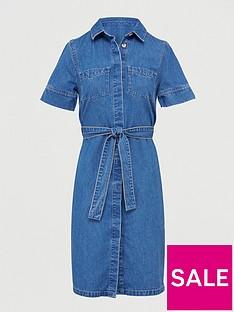 v-by-very-tie-waist-denim-dress-mid-wash