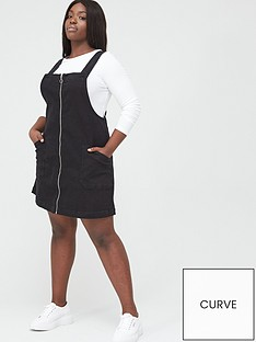 v-by-very-curve-zip-detail-denim-pinafore-dress-black-wash
