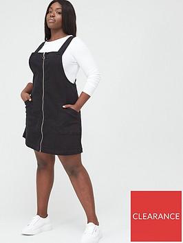 v-by-very-curve-zip-detail-denim-pinafore-dress-black-wash