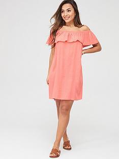 pour-moi-textured-print-bardot-beach-dress-coralnbsp