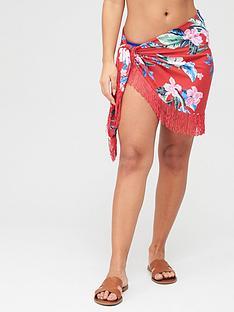pour-moi-miami-brights-tassel-mini-sarong-red