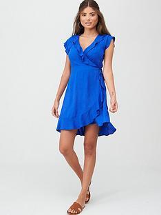 pour-moi-textured-frill-wrap-beach-dress-blue