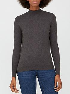 v-by-very-turtle-neck-button-sleeve-detail-jumper-charcoal-marl