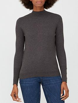 V By Very Value Turtle Neck Button Sleeve Detail Jumper - Charcoal Marl