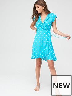 pour-moi-textured-frill-wrap-beach-dress-aquawhite