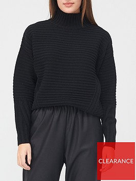 v-by-very-turtle-neck-ottomon-rib-detail-loose-fit-jumper-black