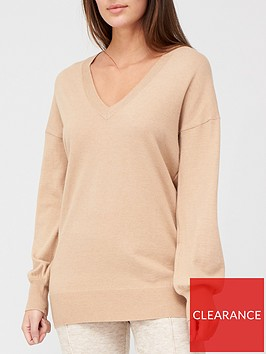 v-by-very-valuenbspv-neck-longline-jumper-camel