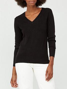 v-by-very-valuenbspsuper-softnbspv-neck-deep-rib-hem-jumper-black