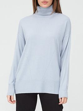 V By Very Value Super Soft Roll Neck Jumper - Dusky Blue, Dusky Blue, Size 8, Women