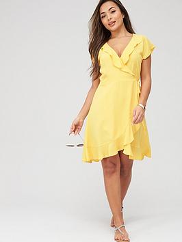 pour-moi-textured-frill-wrap-beach-dress-yellow