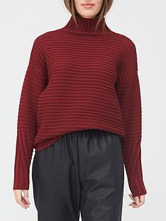 v-by-very-turtle-neck-ottomon-rib-detail-loose-fit-jumper-burgundy