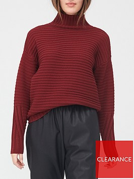 v-by-very-valuenbspturtle-neck-ottomon-rib-detail-loose-fit-jumper-burgundy