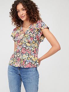 warehouse-sophia-floral-button-through-top-multi