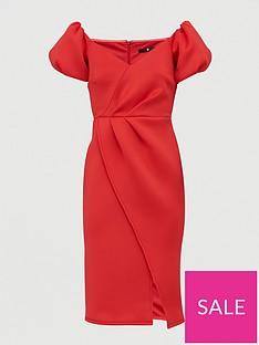 v-by-very-bardot-scuba-wrap-front-midi-dress-red