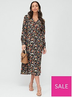 warehouse-livia-floral-midi-belted-dress-multi