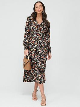 warehouse-livia-floral-midi-belted-dress-multi