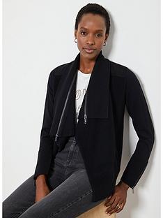 mint-velvet-zip-collar-short-ottoman-cardigan-black