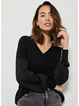 mint-velvet-organza-sleeve-detail-knit-black