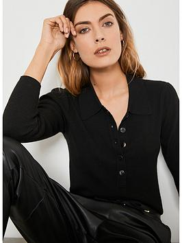 mint-velvet-puff-sleeve-polo-shirt-black
