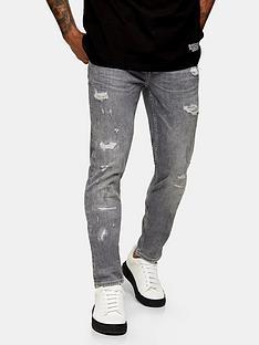 topman-rip-and-repair-skinny-fit-jeans-grey