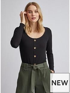 dorothy-perkins-dorothy-perkins-black-button-through-lettuce-edge-long-sleeve-top