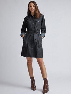 dorothy-perkins-dorothy-perkins-black-long-sleeve-safari-midi-shirt-dress