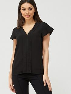 v-by-very-frill-sleeve-v-neck-top-black