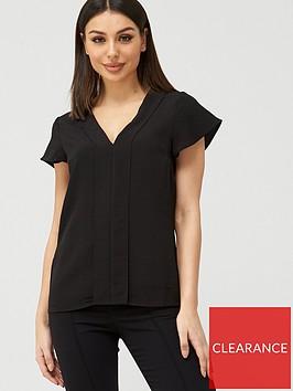 v-by-very-frill-sleeve-v-neck-top-black