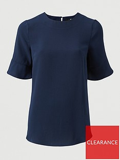 v-by-very-fluted-short-sleeve-top-navy