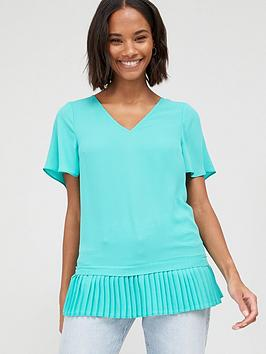 v-by-very-pleated-hem-fluted-short-sleeve-top-green