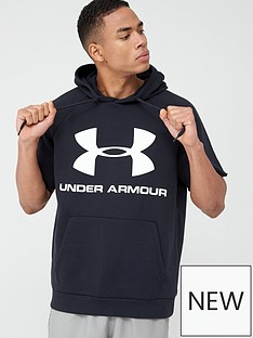 under-armour-rival-fleece-short-sleeve-hoodie-black