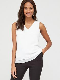 v-by-very-essential-double-layer-vest-white