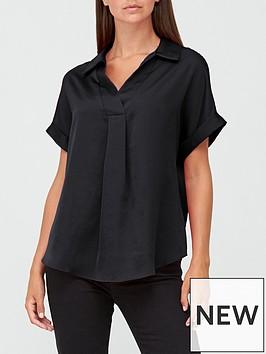 v-by-very-short-sleeve-collared-notch-neck-blousenbsp--black