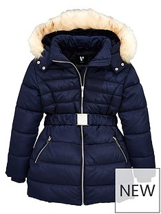 v-by-very-girls-faux-fur-hooded-belted-coat--nbspnavy