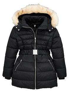 v-by-very-girls-faux-fur-hooded-belted-shower-proofnbspcoat--nbspblack