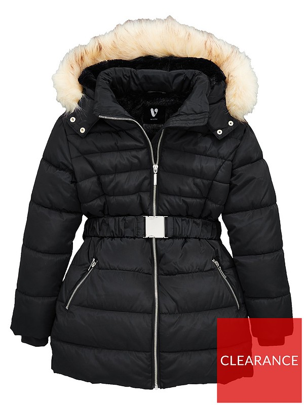 V By Very Girls Faux Fur Hooded Belted, Black Coat With Fur Hood Children S