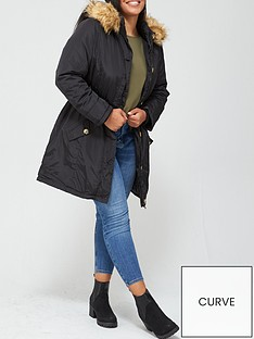 v-by-very-curve-faux-fur-trim-hooded-parka-coat-black