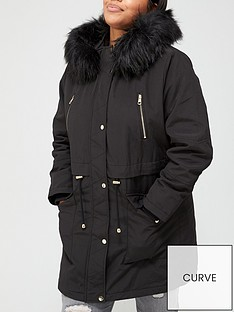 v-by-very-curve-zip-detail-faux-fur-trim-hooded-parka-coat-black
