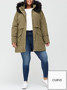 v-by-very-curve-zip-detail-faux-fur-trim-hooded-parka-khaki